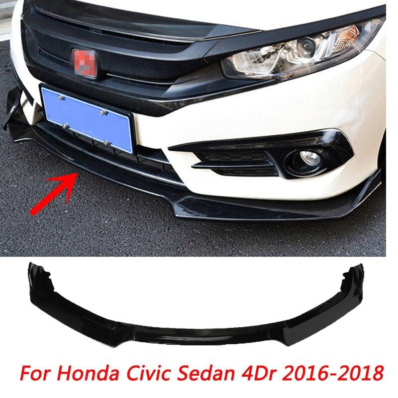 3 pièces noir voiture pare-chocs avant diffuseur lèvre corps Kit becquet pare-chocs protecteur pour Honda Civic berline 4Dr 2016-2018
