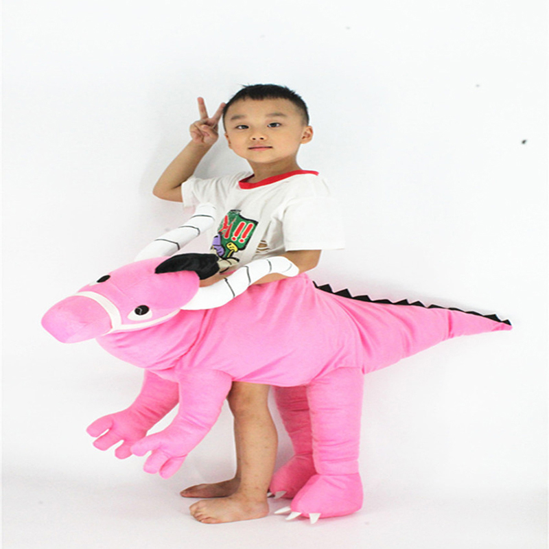Funny Cosplay Mascot Costumes Pink Dinosaur Costumes Kids T-Rex Dinosaur Rider Ride on Animal Pants Oktoberfest New Year Costume