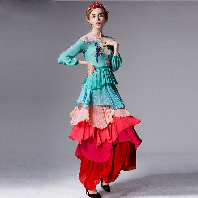 Vestidos largo elegante multicolor capas hombros encaje 2