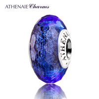 ATHENAIE Genuine Murano Glass 925 Silver Core Blue Fascinating Iridescence Charms Bead Fit All European Bracelets