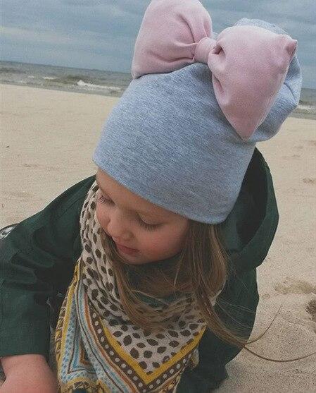Winter Autumn Kids Knitted Warm Cotton Beanie  Girl Winter BabyHat Cap Cotton Bow Headwraps Hair Accessories Bowknot Hair Bands