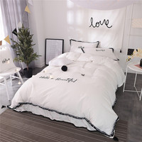 4/6 Pieces 100% Cotton Luxury Bedding Set Embroidery Bed Set King Queen full twin Bed Linens Tassels Duvet Cover Bed Skirt