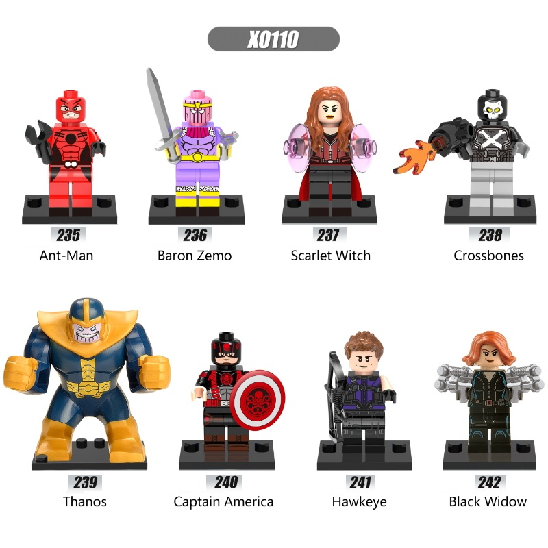 Single Sale Super Heroes Antman Hawkeye Baron Zemo Scarlet Witch Hydra Captain America Building Blocks Children Gift Toys X0110