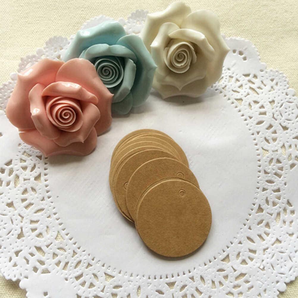 100 Chiếc Cầm Tay DIY Làm Cho Bánh Nướng Niêm Phong Hàng Thẻ Tự Làm Vòng Nâu May Nhãn Handmade Nơ Kraft Nhãn vintage Nhãn