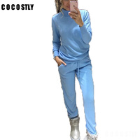 High Quality 2018 Wool Tracksuits Spring Cashmere Suits Female High necked Sweater + Pants Knitted 2 Piece Sets Women Set