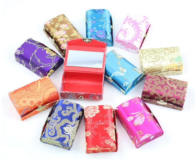 2 Pcs/lot Flower Design Lipstick Case Box With Mirror Hasp Cosmetic Bags Coin Lipstick Holder