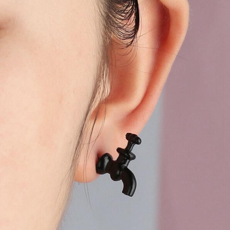 Vintage retro Faucet water-tap Design Cute Earrings Ear Studs Women Men Earring
