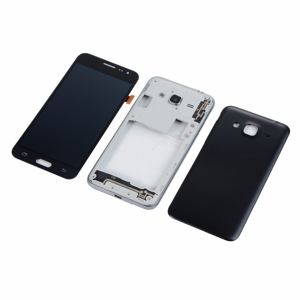 For Samsung Galaxy J3 2016 J320 J320F J320FD LCD Touch Screen Digitizer Display+Housing Middle Frame Cover+Battery Back Cover