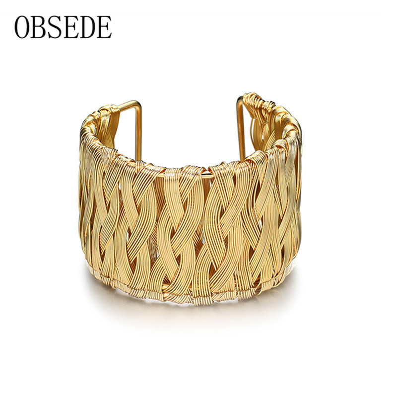 OBSEDE Vintage Wide Cuff Bracelet for Women Cool Style Gold Color Braided Bracelet & Bangle Female Jewelry 2017 New Fashion