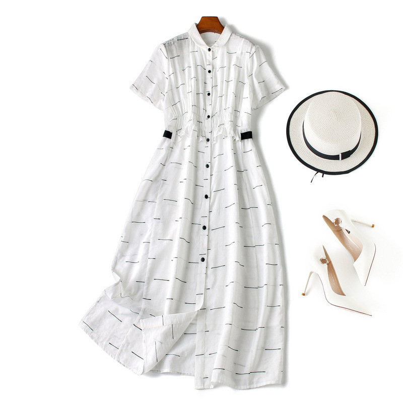Vrouwen elegante witte zomer jurk 2019 elegante korte mouw ruches ruches front casual jurken