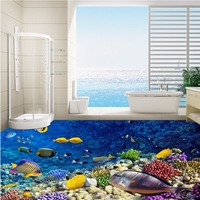 Free Shipping custom Underwater World Aquarium 3D Flooring paste bathroom lobby aisle floor background wallpaper mural