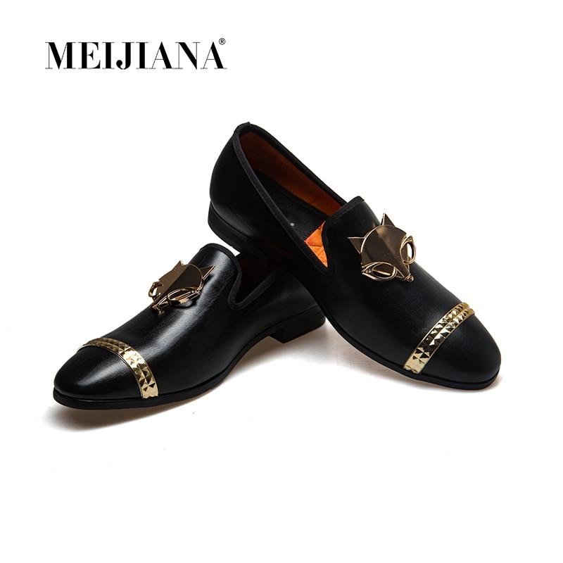 Meijiana Marke männer Schuhe Casual Schuhe Flache Schuhe Casual Business Schuhe Fuchs Metall Schnalle Luxus Leder-in Freizeitschuhe für Herren aus Schuhe bei  Gruppe 1