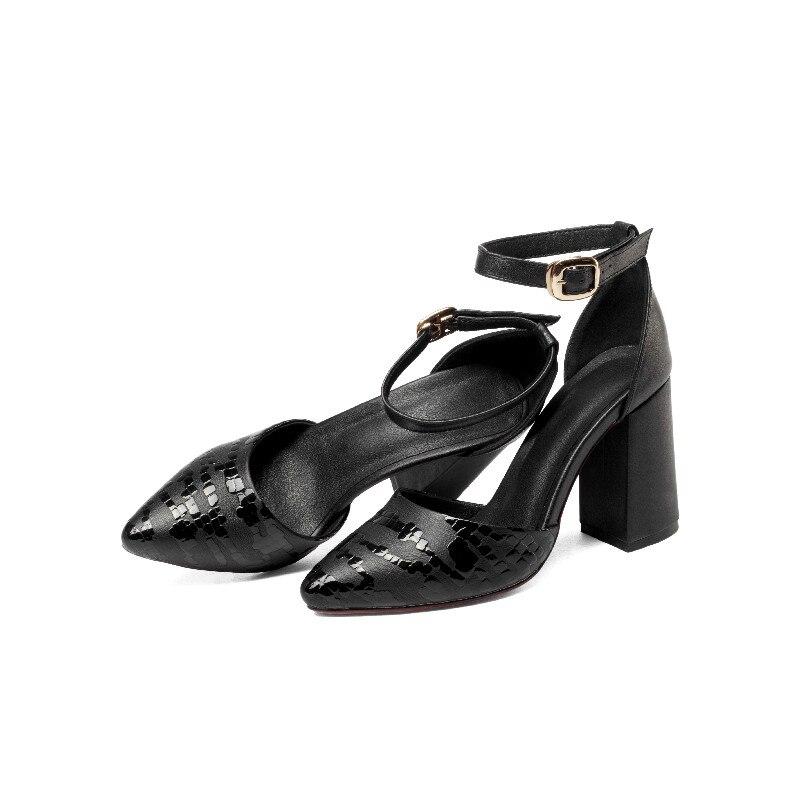 Starke Leder wein Hochhackigen Produkt Handgemachte Pumpen Frauen Sandalen Schuhe Top Echtem Aus rot Ferse Schwarzes Reine R6qBxw