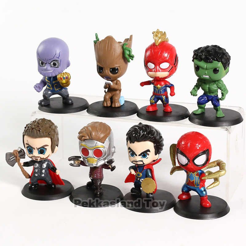 Marvel Avengers Endgame Thanos Captain Marvel Hulk หมอแปลก Thor ต้นไม้พีวีซีตัวเลขของเล่นตุ๊กตา 8 ชิ้น/เซ็ต