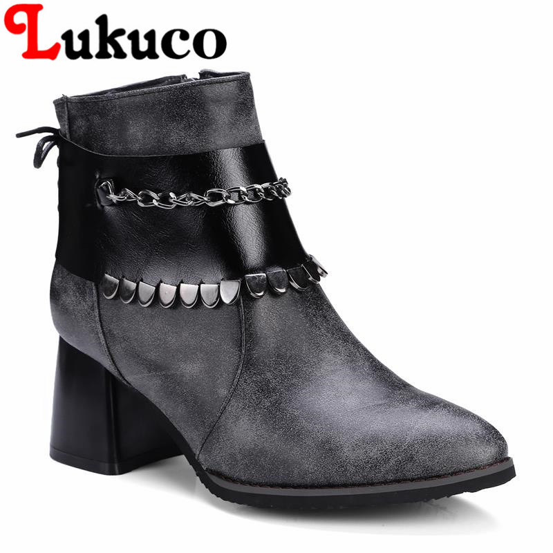 2018 EUR size 37 38 39 40 41 42 43 44 45 46 47 48 Lukuco women boots elegant retro style high quality lady shoes free shipping