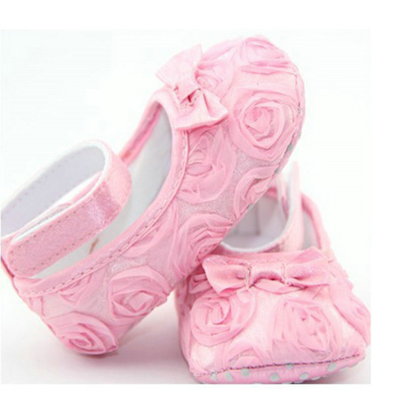 2016 Baby Kids Toddler Infant Rose Flowers Bowknot Baby Girl Soft Warm Princess Shoes Cack For the First Walker 4 Colors