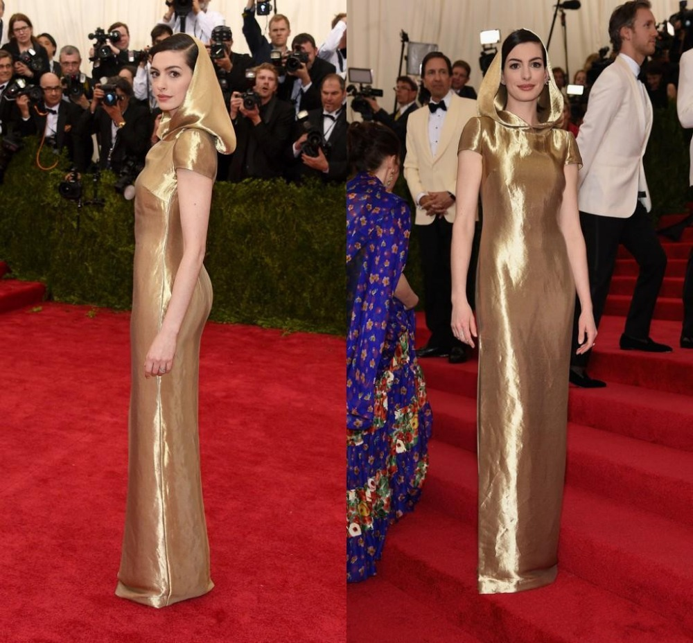 Aliexpress.com : Buy 2015 Met Gala Anne Hathaway Red Carpet Dress ...