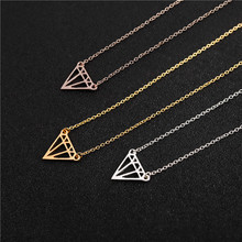 30PCS- N050 Gold Silver Flat Triangle Necklace Cut Out Subulate Necklaces Simple Geometric Polygon Layering Triangle Necklace stylish cut out triangle lariat necklace