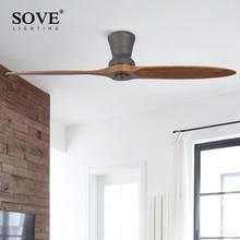 SOVE Black Village Industrial Wooden Ceiling Fan Wood Without Light Decorative Home Fan Ceiling DC 220 Volt Ventilador De Techo