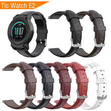 Mijobs Leather Strap for Ticwatch Pro Band Smart Watch Genuine Watchband Replacement Wrist E2 S2