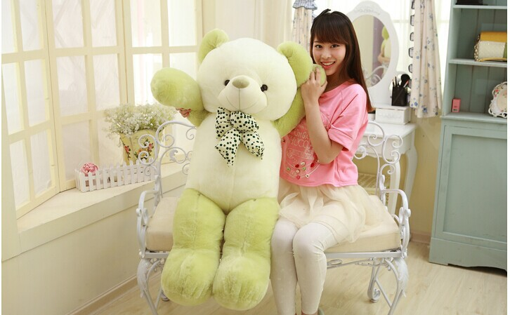 lovely new plush Teddy bear toy stuffed light green teddy bear with bow birthday gift about 120cm lovely new plush teddy bear toy stuffed light brown teddy bear with bow birthday gift about 120cm