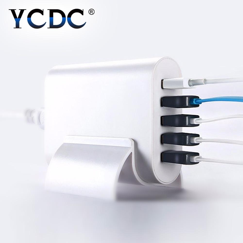 YCDC Travel Charger 5 Ports UK EU US Plug USB Socket Hub Home Wall AC Power Adapter Power Switch for xiaomi/iPhone/iPad/Samsung