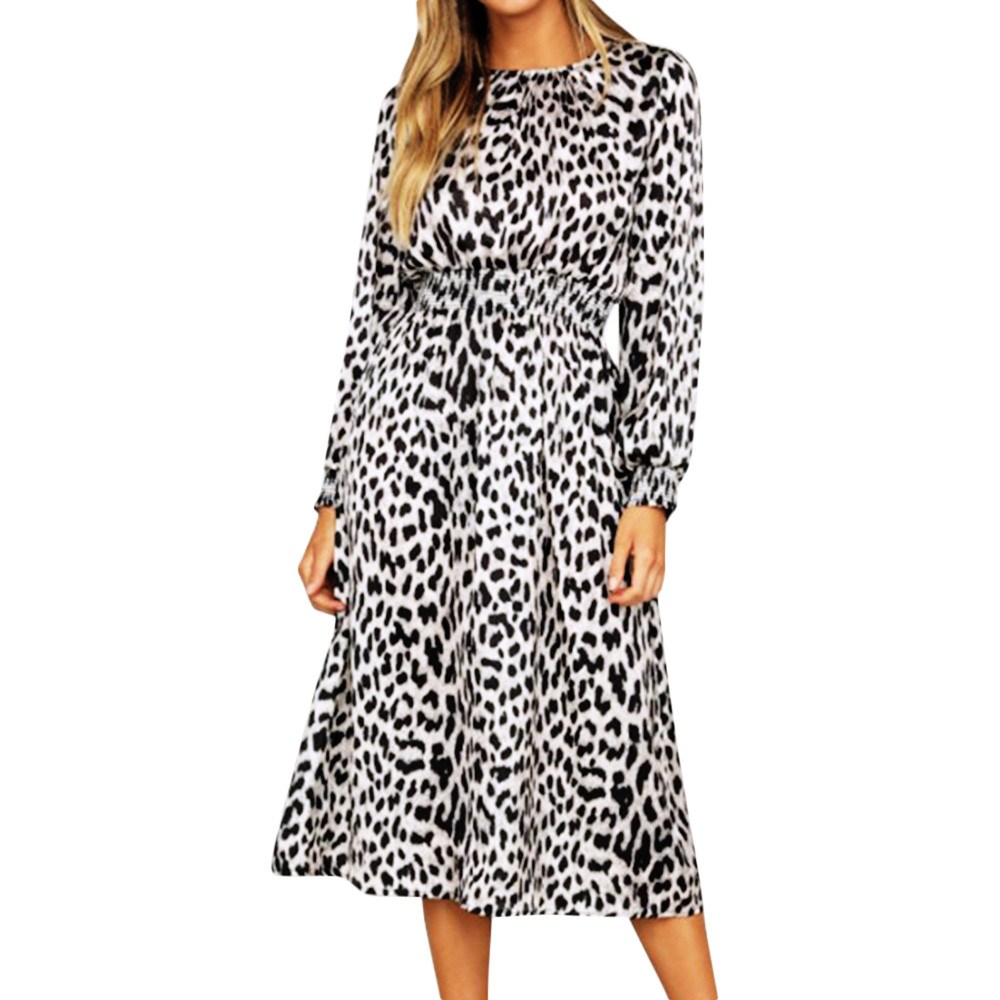 Сексуальное платье женское леопардовое платье с длинным рукавом Бандажное Платье Винтажный Летний стиль robe femme модное западное вечерние пл