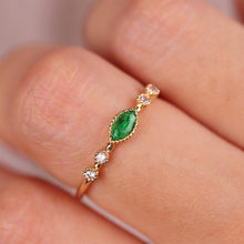 Fashion Women Jewelry Gorgeous Grandmother Emerald Ring Olive Green Diamond Dewdrop 18K Rings SZ 6-10(China)