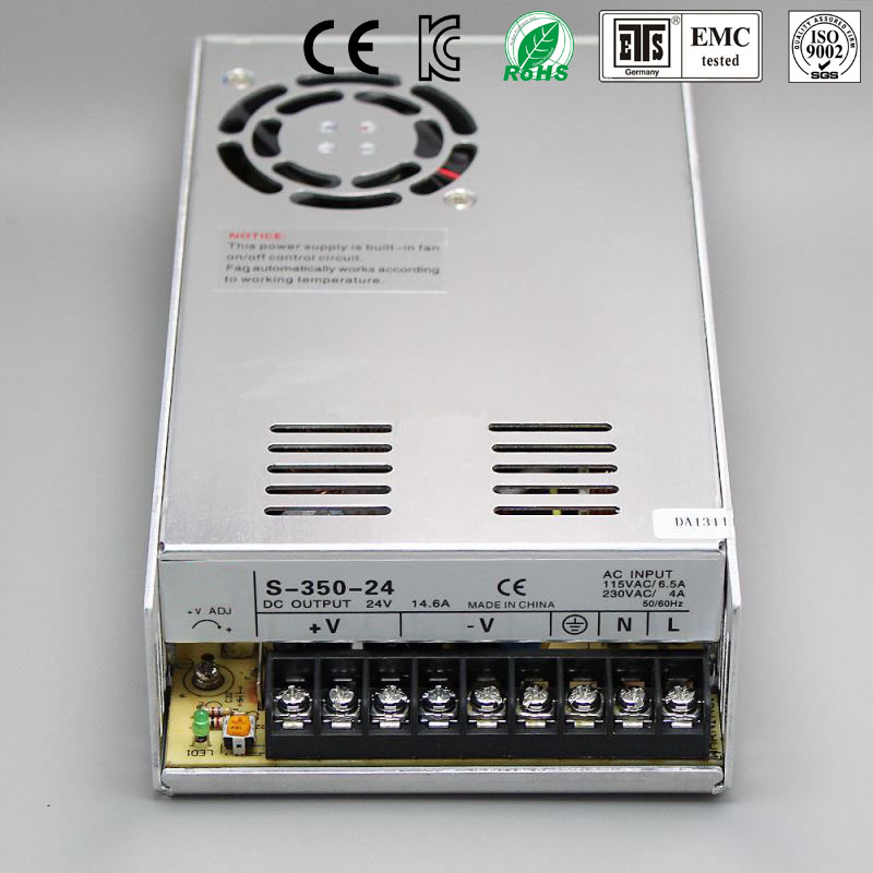 Best quality 48V 7.3A 350W Switching Power Supply Driver for LED Strip AC 100-240V Input to DC 48V free shipping 1200w 12v 100a adjustable 220v input single output switching power supply for led strip light ac to dc