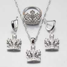 Wedding Decoration 925 Sterling Silver White Zircon Crown Jewelry Sets Earrings Pendant Necklace Ring Free Shipping(China)