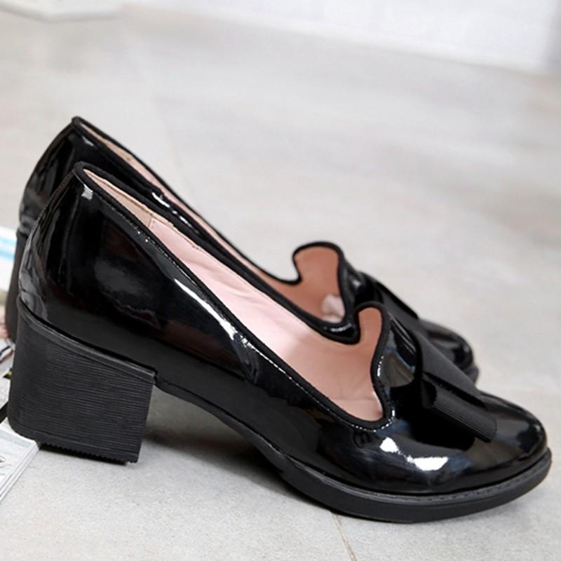 Sweet Bowtie Patent Leather Pumps Round Roe Women\'s Platform Elegant Thick High Heel Shoes Plus Size 34-40 Slip-on High Heels (14)