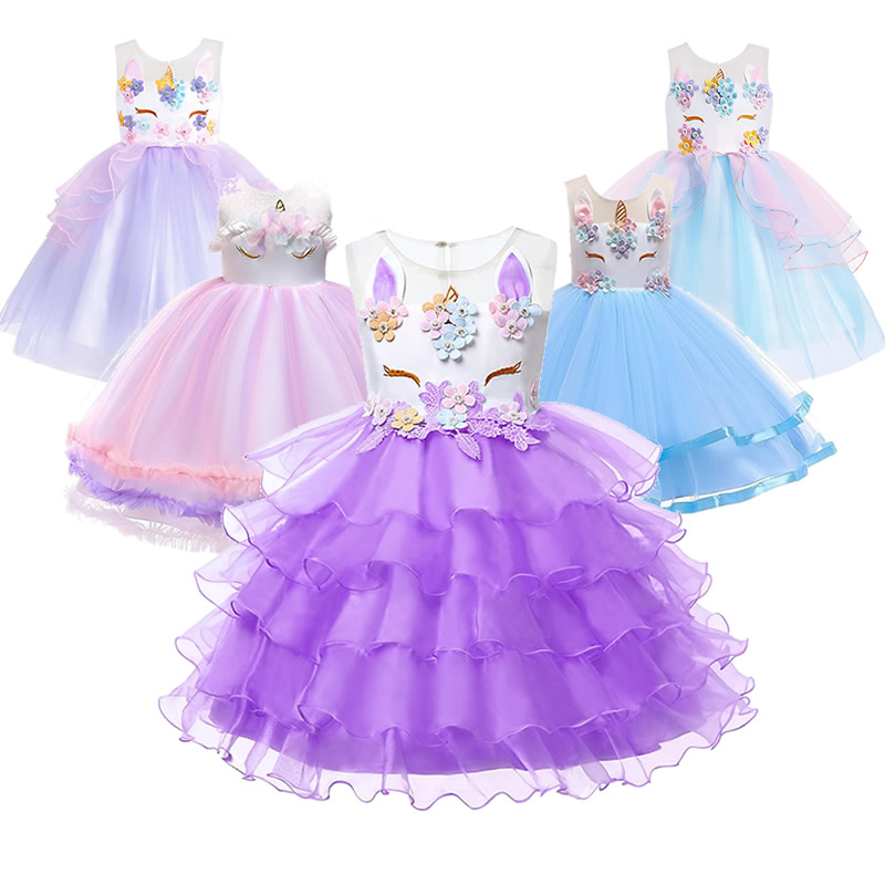Kids Unicorn Dress Children Fancy Party Costumes Toddler Rainbow Princess Cake Frock For Girls Unicorn Theme Dress Up Birthday 1