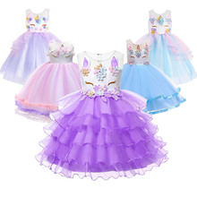 Kids Unicorn Dress Children Fancy Party Costumes Toddler Rainbow Princess Cake Frock For Girls Theme Up Birthday