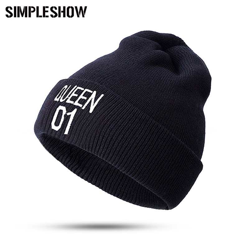 King Queen Couple Style Fashion Winter Hat For Man Woem Skullies Beanies Unisex Knitted Hat Women Warm Hat Cap Wholesale/Retail