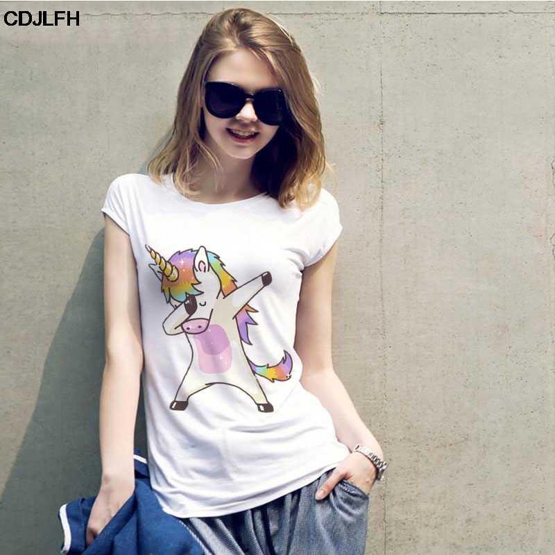 Estate del Cotone di Modo della Maglietta Harajuku Kawaii Maglietta di Stile Coreano Ulzzang T Camicia Tumblr Estetico Grafici Unicorno Magliette Delle Donne