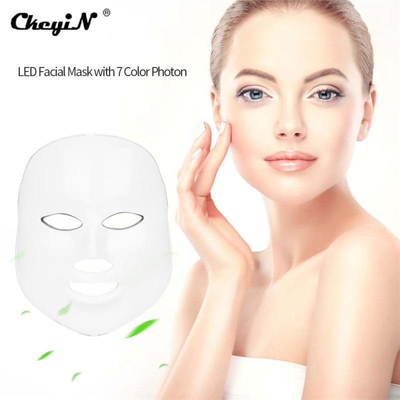 Профессиональный светодио дный маска для лица 7 цветов фотон маска для лица морщин удаления прыщей Уход за лицом омоложения кожи Красота ус...