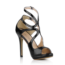 Fashion Patent Bridal Party Ankle Strap Peep Toe High Heel Stiletto Women Sandals Sandalias de Tacon Alto de Aguja Mode 0640A-5