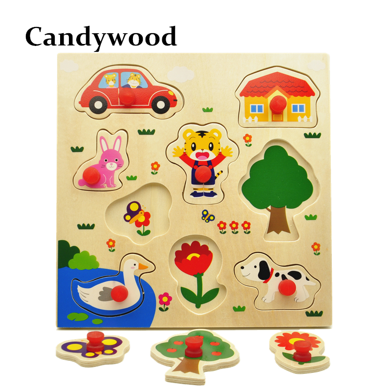 Animal Jigsaw Board Kid Early educational toys for children baby boys grils wooden puzzl ...