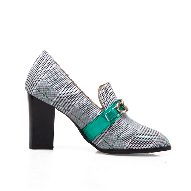 High Heel Loafers - Plaid Print - 2 Colors 2