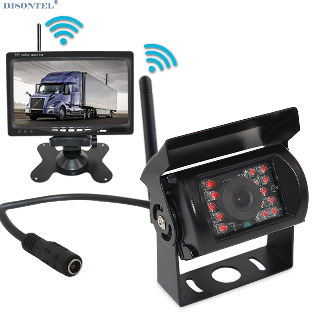 7 Inch Car Parking Monitor with Reversing Camera 2.4 GHz wireless Transmitter Receiver Rearview Kit for RV Truck Trailer