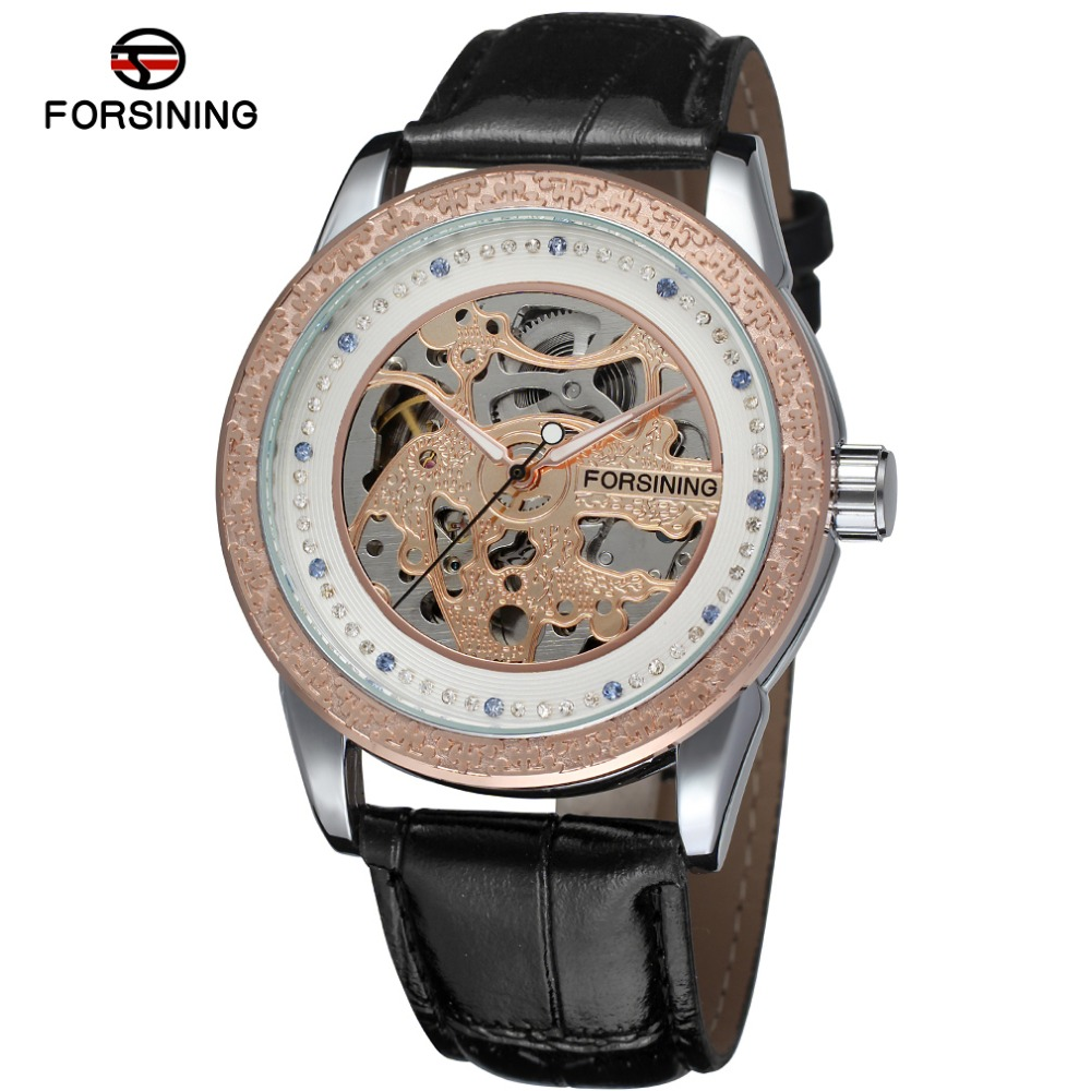 Fashion FORSINING Men Luxury Brand Skeleton Casual Leather Strap Watch Automatic Mechanical Wristwatch Gift Box Relogio Releges fashion sewor men luxury brand auto date leather casual watch automatic mechanical wristwatch gift box relogio releges 2016 new