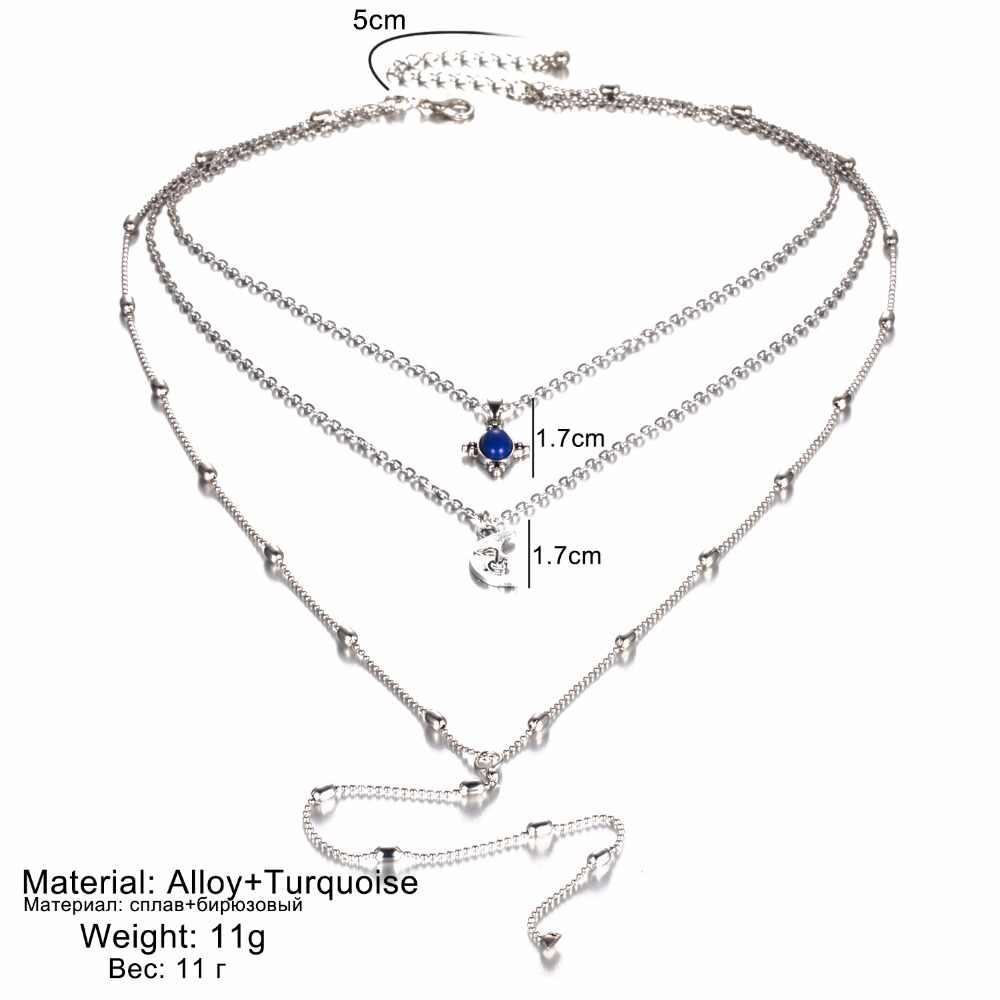 Kisswife 2020 nova cor prata do vintage metal lua pingente gargantilha colar feminino boho multicamadas chocker