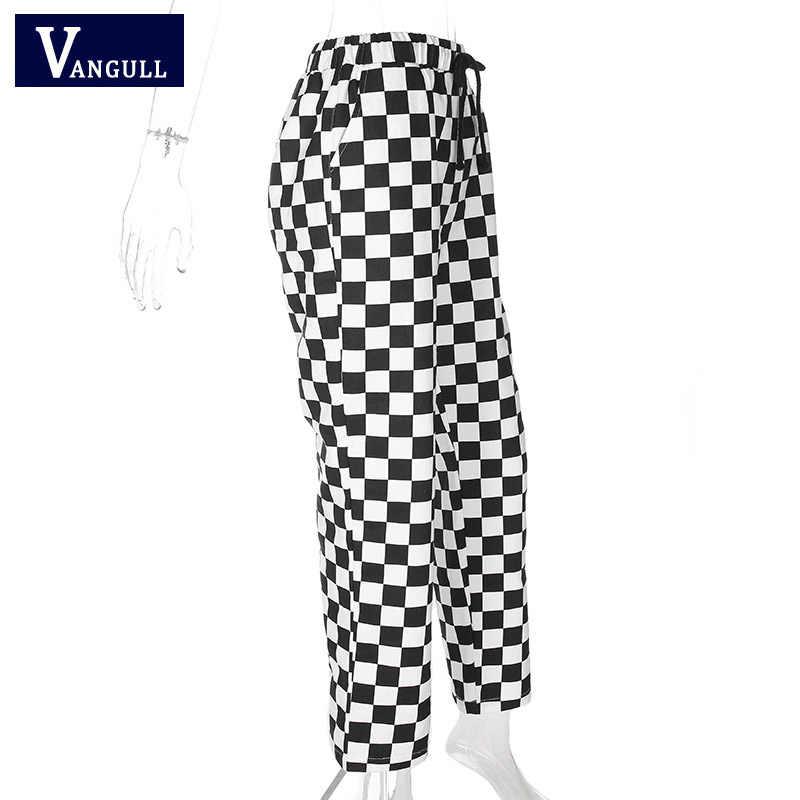 Vangull клетчатые женские штаны с высокой талией, клетчатые прямые свободные спортивные штаны, повседневные Модные брюки, Pantalon Femme, спортивные штаны