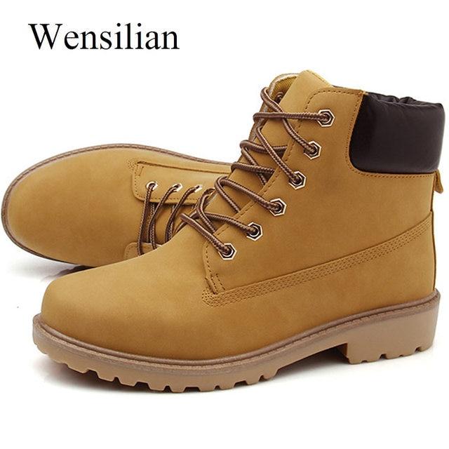 c92858a22 Homens Botas de inverno PU Ankle Boots de Neve Ao Ar Livre Masculino Lace  Up Anti