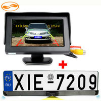 3IN1 Car Parking System License Plate with Rearview Camera and Sensor + 4.3 Car TFT LCD Monitor Car Parking Assistance