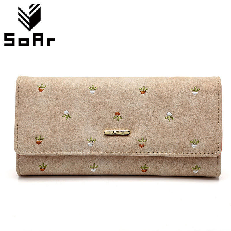 SoAr Leather Wallet Women Luxury Brand Womens Wallets Purses Bag Long Clutch Bag Embroidered Designer High Quality Card Holder yuanyu 2018 new hot free shipping real python leather women clutch women hand caught bag women bag long snake women day clutches