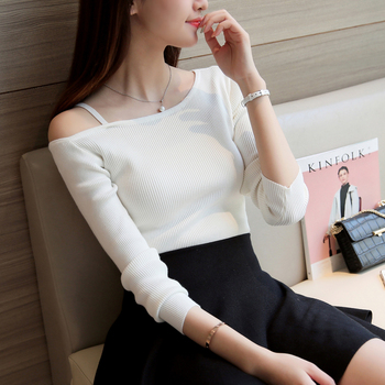 Off Shoulder Sexy Women Long Sleeve Knitted Sweater Solid Skinny Slim Sweater Women Spring And Winter Pullovers Women Outerwear & Accessories