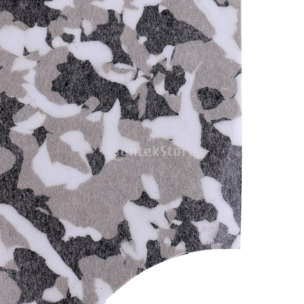 Set of 9 Pieces Kitesurf KiteBoard Surfboard Traction Full Deck Pad Non-slip and Ultra-light - Black White Camo
