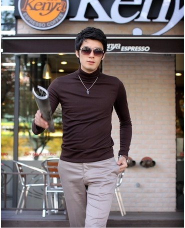 Hot-selling male polo-necked collar long-sleeve long johns customize 100% basic cotton thermal underwear shirt modal