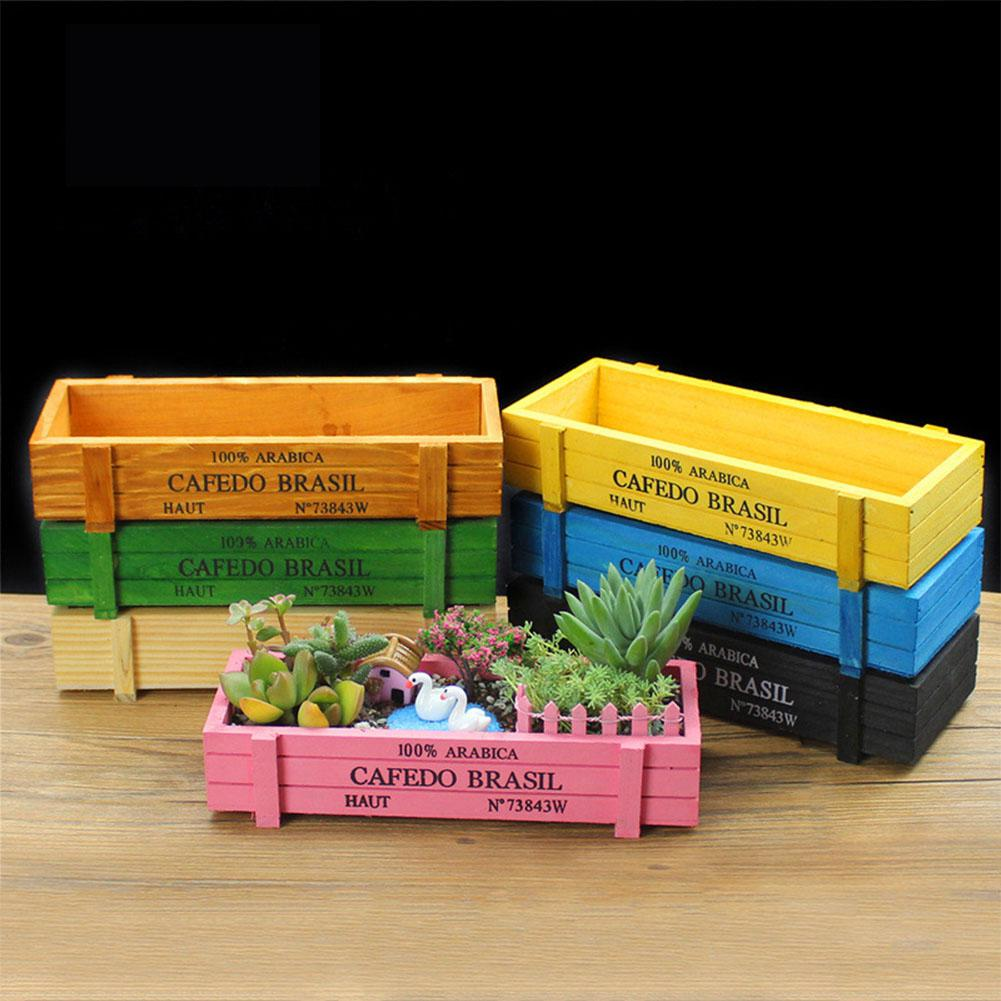 LumiParty Vintage Wood Rectangle Flowerpot Plant Bed Yard Home Garden Decoration-20 1